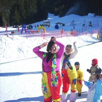 Carnival at Cermis  - Entertainers in a fancy dress dance with the children at Cermis ski school area
