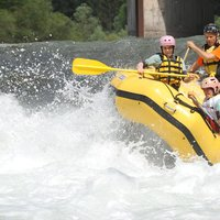 Balancing on the raft   - Exciting rafting in Val di Fiemme