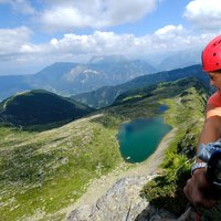 Bombasel lakes from Cermiskyline  - Beautiful picture of Bombasel lakes with climber in Val di Fiemme