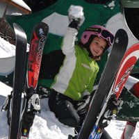 Joyful children on Cermis  - Children are throwing snowballs at Cermis ski school area