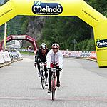 The finish of the female winner - Monica Bandini: 135 km in 5h11